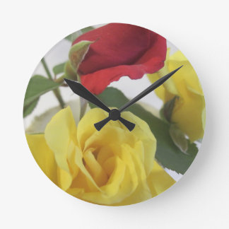 Red amd Yellow Roses Wallclocks