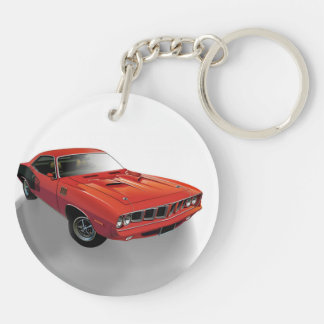 Red American muscle car Double-Sided Round Acrylic Key Ring