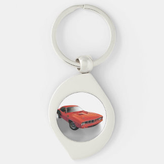 Red American muscle car Silver-Colored Swirl Key Ring