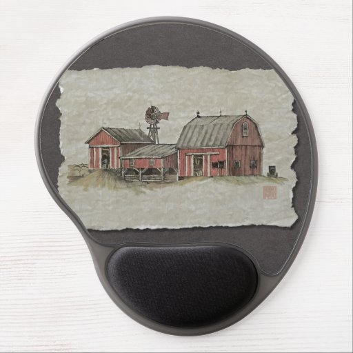 Red Amish Barn & Windmill Gel Mouse Mat