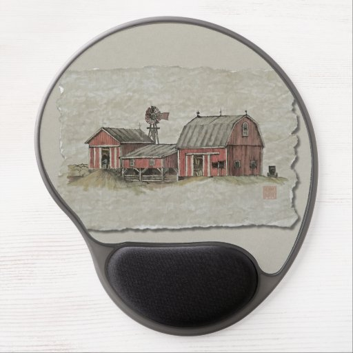 Red Amish Barn & Windmill Gel Mousepad