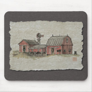 Red Amish Barn Windmill Mouse Pad