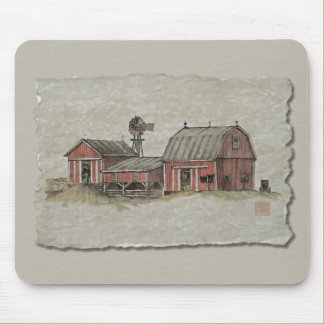 Red Amish Barn Windmill Mousepads