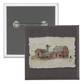 Red Amish Barn & Windmill Pinback Buttons