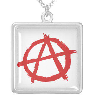 Red Anarchist A Symbol Anarchy Logo Square Pendant Necklace