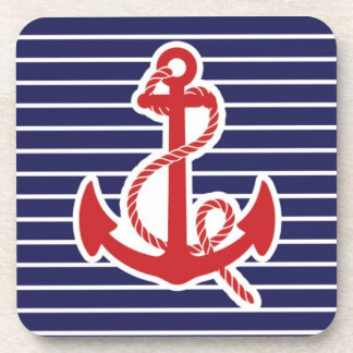 Red anchor beverage coasters