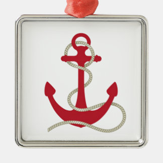 Red Anchor Metal Ornament