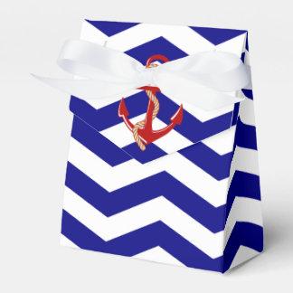 Red Anchor Nautical Chevron Stripes Favour Box