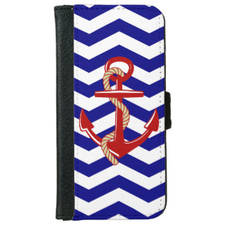Red Anchor Nautical Chevron Stripes iPhone 6 Wallet Case