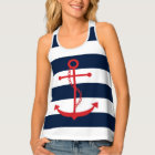 Red Anchor on Navy Blue Stripes Singlet