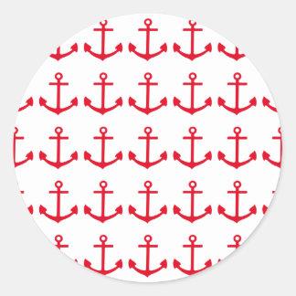 Red Anchor Round Sticker