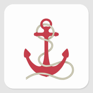 Red Anchor Square Sticker