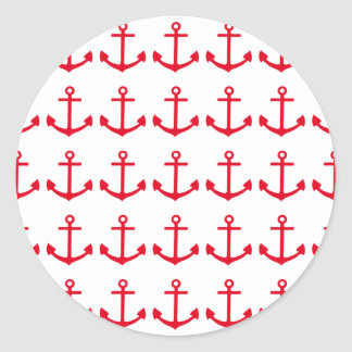 Red Anchor Classic Round Sticker