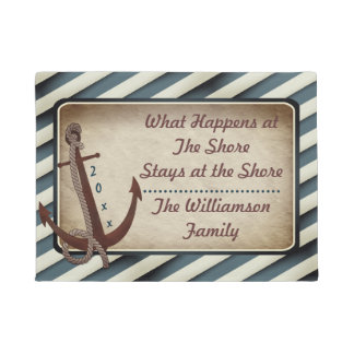 Red Anchor What Happens at the Shore Monogram Doormat