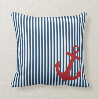 Red Anchor with Nautical Blue Salior Stripes Throw Pillow