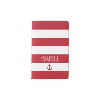 Red Anchors Away Pocket Moleskine Notebook