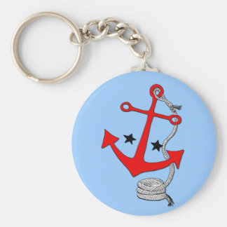 Red Anchors (for  ) Basic Round Button Key Ring