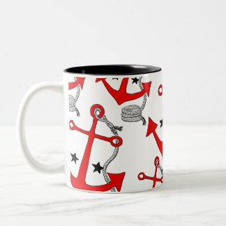 Red Anchors (for  ) Two-Tone Mug
