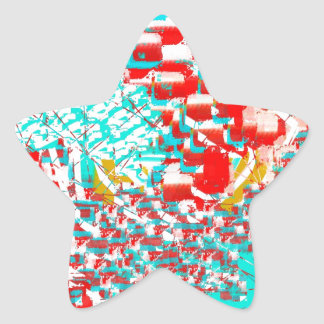 Red and Aqua Abstract Star Sticker