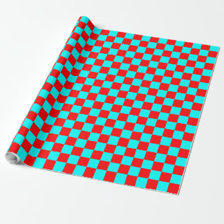 Red and Aqua Checkered Squares Wrapping Paper