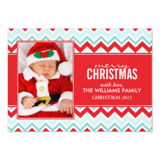 Red and Aqua Chevrons Pattern Holiday Cards 13 Cm X 18 Cm Invitation Card
