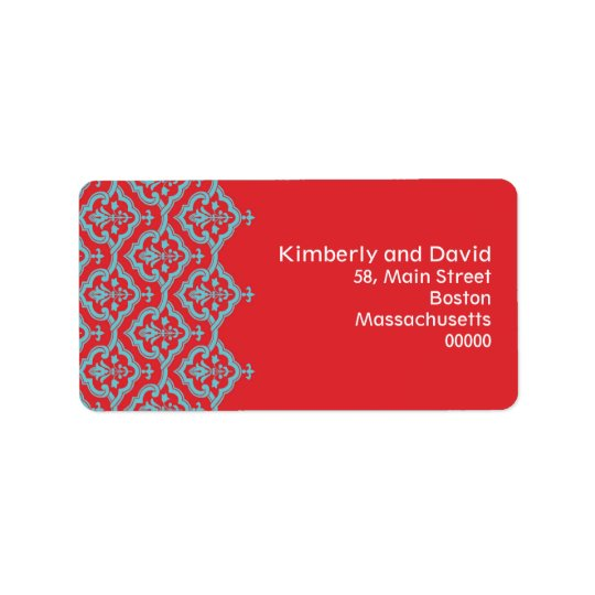 Red and Aqua Damask Wedding Address Labels