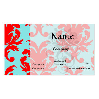 red and aqua lovely formal damask business card template
