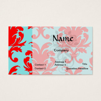 red and aqua lovely formal damask business card
