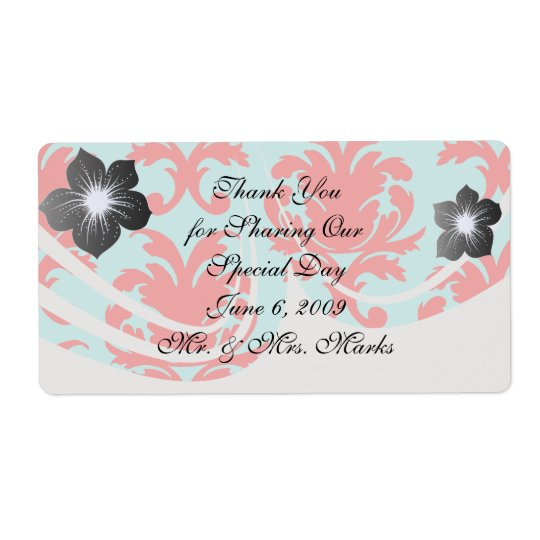 red and aqua lovely formal damask shipping label