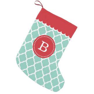 Red and Aqua Moroccan Quatrefoil Monogram Small Christmas Stocking