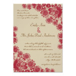 Red and Beige Daisy Wedding Invitations