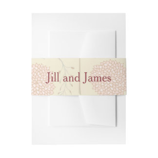Red and Beige Floral Wedding Invitation Belly Band