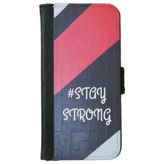 red and black abstract geometric / stay strong iPhone 6 wallet case