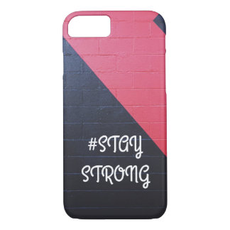 red and black abstract geometric/ stay strong iPhone 8/7 case