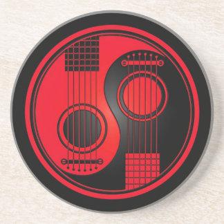 Red and Black Acoustic Guitars Yin Yang Coaster