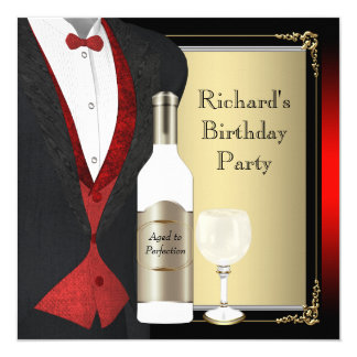 Red and Black Aged to Perfection Birthday Party 13 Cm X 13 Cm Square Invitation Card