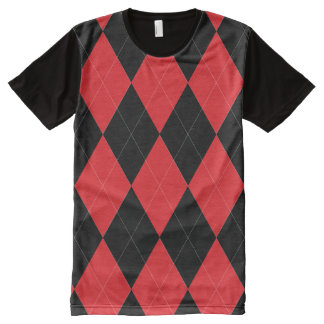 Red and Black Argyle Pattern All-Over Print T-Shirt