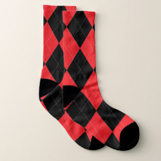Red and Black Argyle Pattern White 1