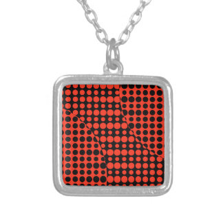 Red and Black Background Silver Plated Necklace