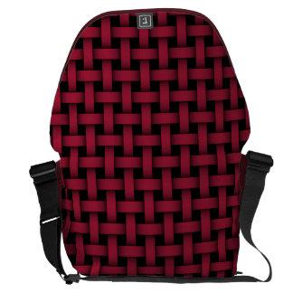 Red and Black Basket Weave - Large Messenger Bag
