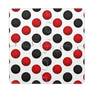 Red and Black Basketball Pattern Puzzle Coaster