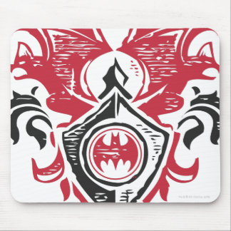 Red and Black Bat Stamp Crest Mouse Pad