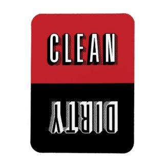 Red and Black Block Modern Typography Dishwasher Rectangular Photo Magnet