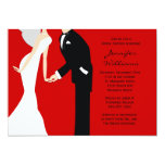 Red and Black Bride and Groom Wedding Shower Custom Announcements