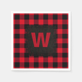 Red and Black Buffalo Check Mongram Paper Serviettes
