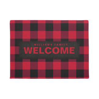 Red and Black Buffalo Check Monogram Doormat