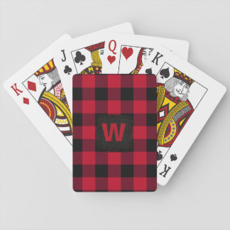 Red and Black Buffalo Check Monogram Playing Cards