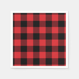 Red and Black Buffalo Check Pattern Disposable Napkins