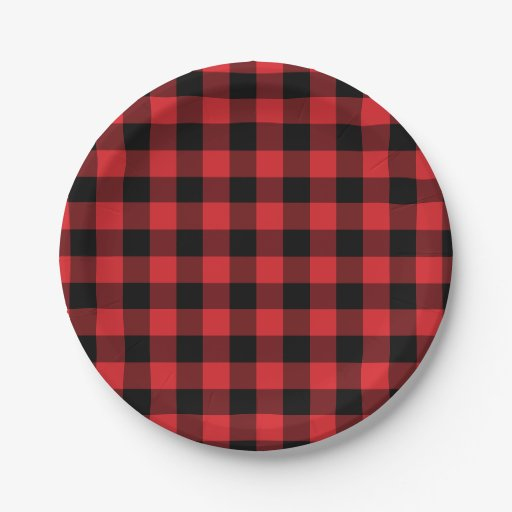 Red And Black Buffalo Check Plaid Pattern 7 Inch Paper  sc 1 st  Castrophotos & Red And Black Paper Plates - Castrophotos