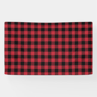 Red and Black Buffalo Plaid Backdrop Banner
